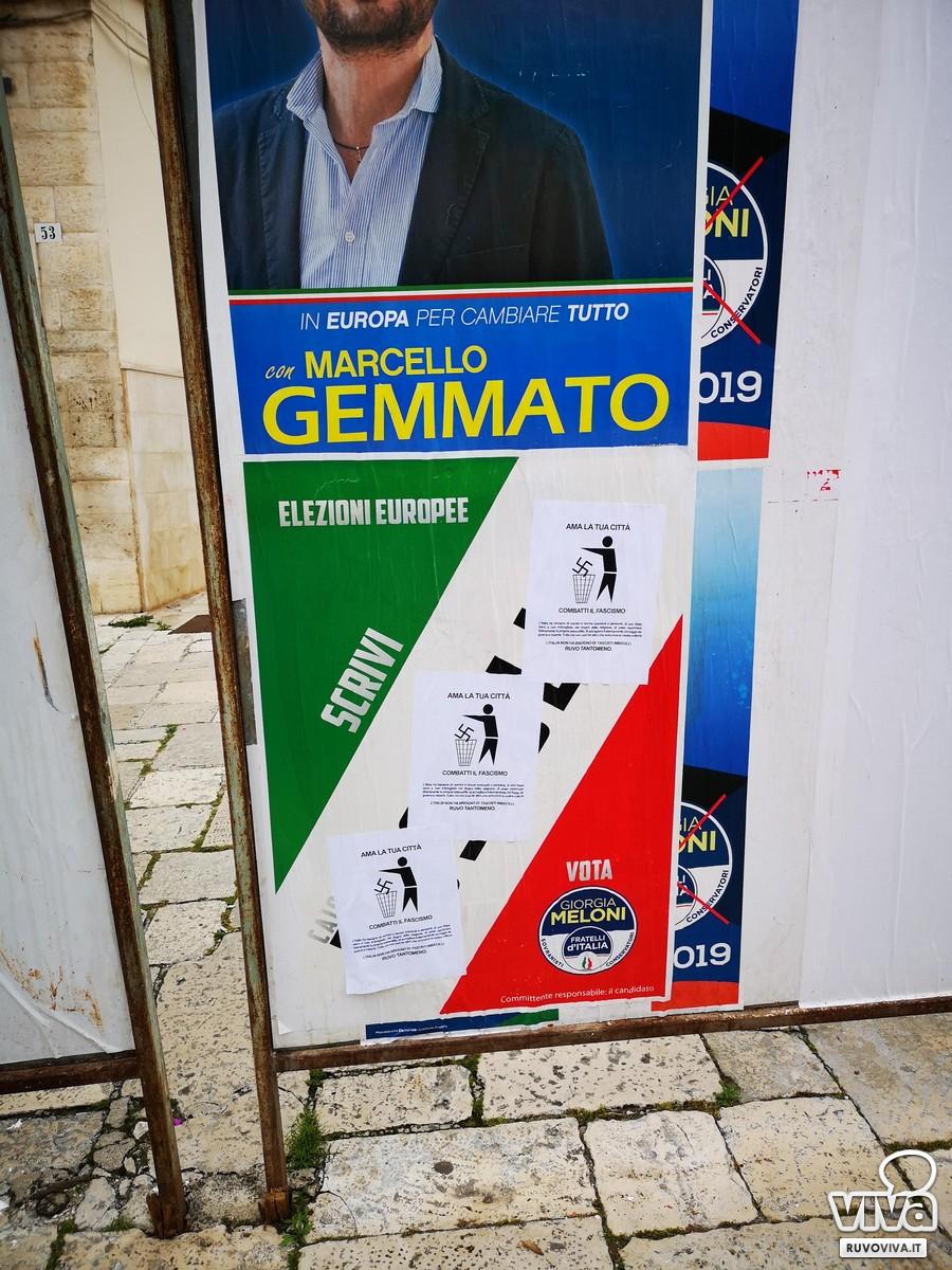 Manifesto elettorale di Fratelli d'Italia manomesso