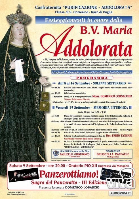 Il programma dei festeggiamenti in onore di Maria Santissima Addolorata