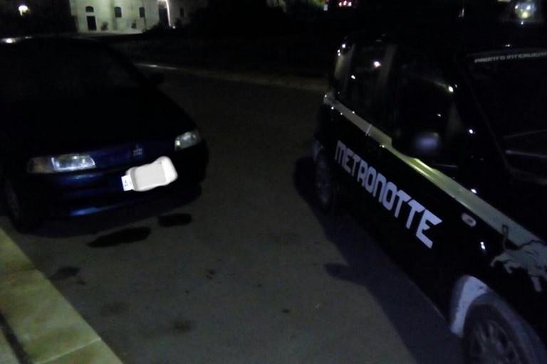 La Fiat Punto recuperata dalla Metronotte