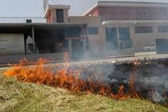 Un campo comunale prende fuoco, una nube nera avvolge la zona artigianle FOTO