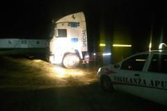 Due camion ed una pala meccanica pronti per essere portati via, la Vigilanza Apulia blocca il furto