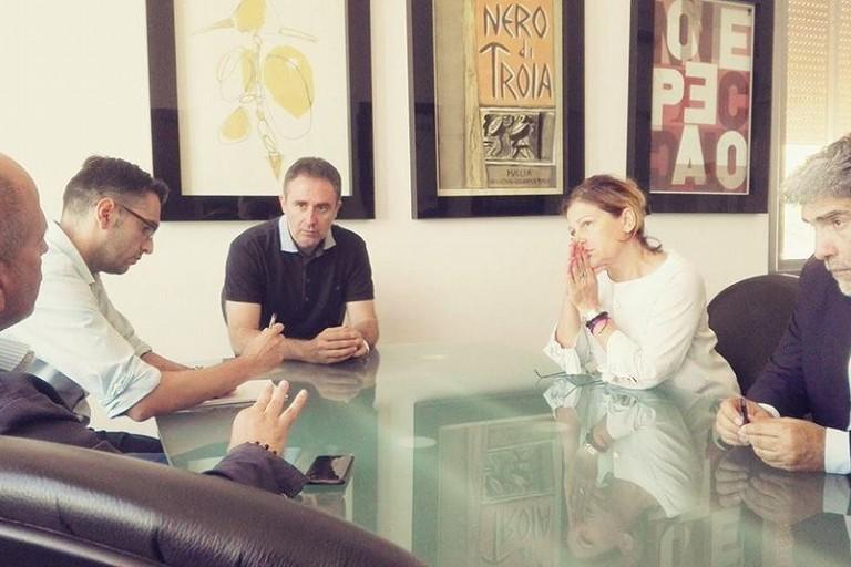 L'incontro tra il sindaco Chieco, il presidente Vitto e l'assessore Di Gioia