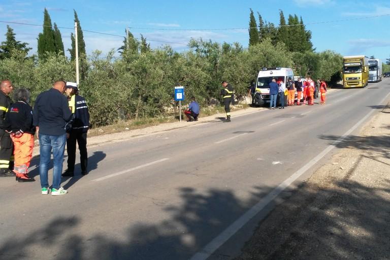 L'incidente stradale avvenuto sulla strada provinciale 2