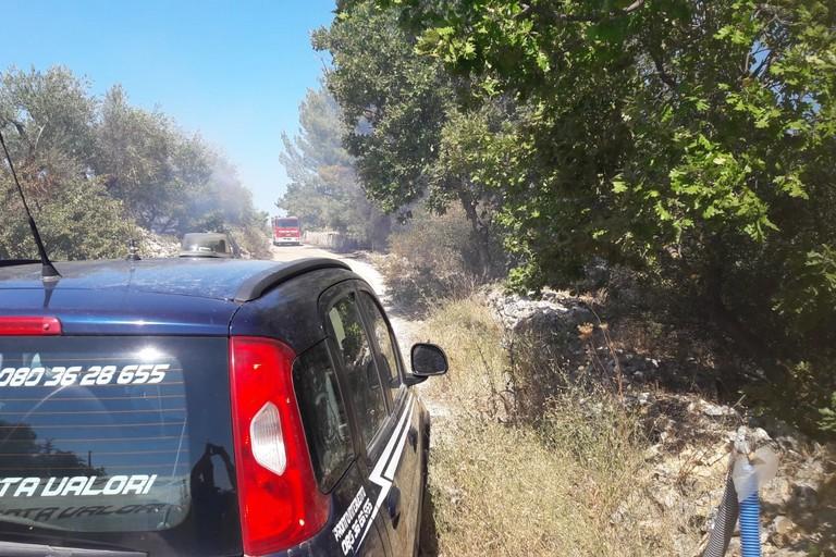 Incendio in zona Calendano